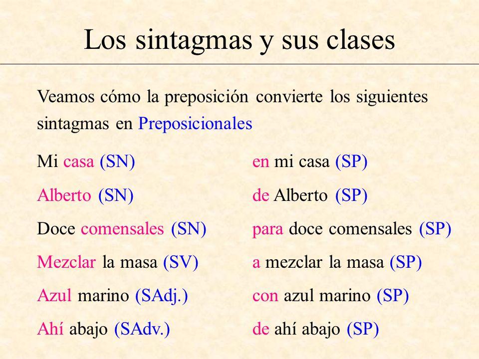 Los sintagmas y sus clases Mi casa (SN) Alberto (SN) Doce comensales (SN) Mezclar la masa (SV) Azul marino (SAdj.) Ahí abajo (SAdv.) en mi casa (SP) d