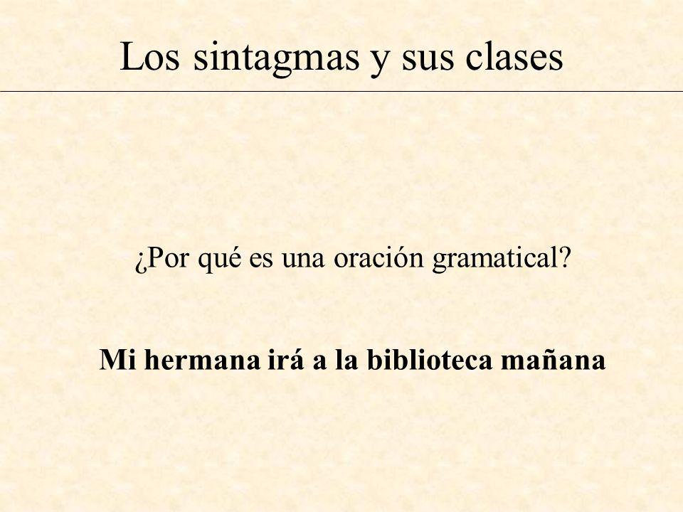 Los sintagmas y sus clases ¿Por qué es una oración gramatical? Mi hermana irá a la biblioteca mañana