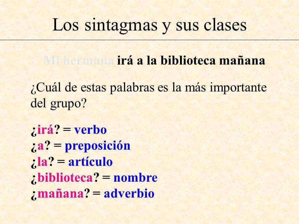 Los sintagmas y sus clases ¿Cuál de estas palabras es la más importante del grupo? Mi hermana irá a la biblioteca mañana ¿irá? = verbo ¿a? = preposici