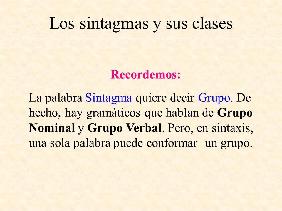 Los sintagmas y sus clases Recordemos: La palabra Sintagma quiere decir Grupo. De hecho, hay gramáticos que hablan de Grupo Nominal y Grupo Verbal. Pe