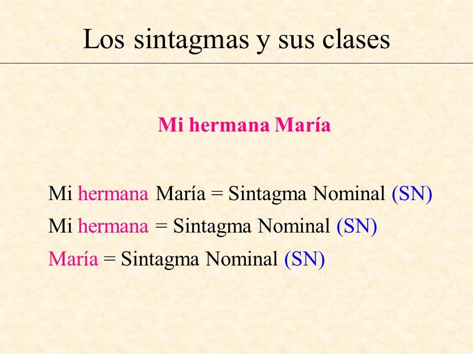 Los sintagmas y sus clases Mi hermana María Mi hermana María = Sintagma Nominal (SN) Mi hermana = Sintagma Nominal (SN) María = Sintagma Nominal (SN)