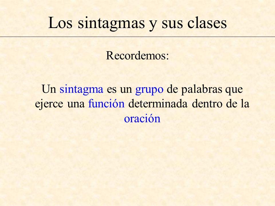 Los sintagmas y sus clases Un sintagma es un grupo de palabras que ejerce una función determinada dentro de la oración Recordemos: