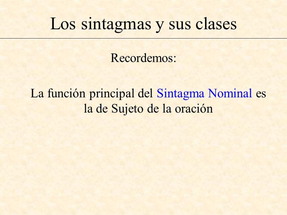 Los sintagmas y sus clases La función principal del Sintagma Nominal es la de Sujeto de la oración Recordemos: