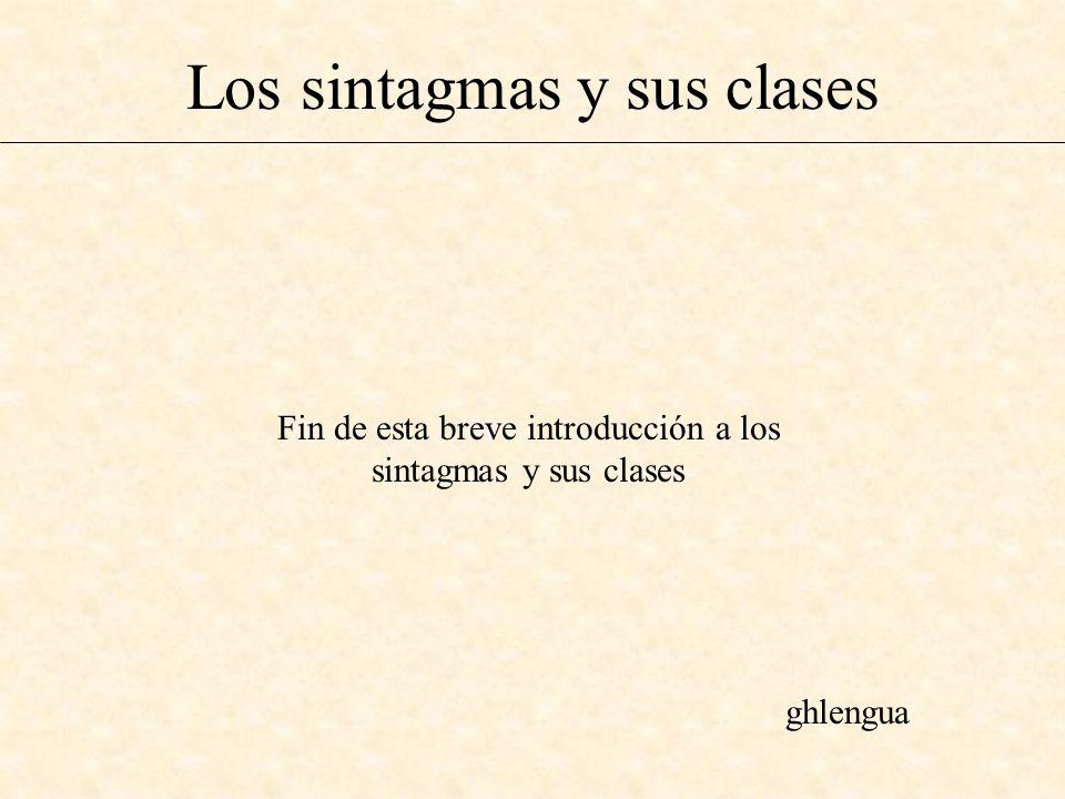 Los sintagmas y sus clases Fin de esta breve introducción a los sintagmas y sus clases ghlengua