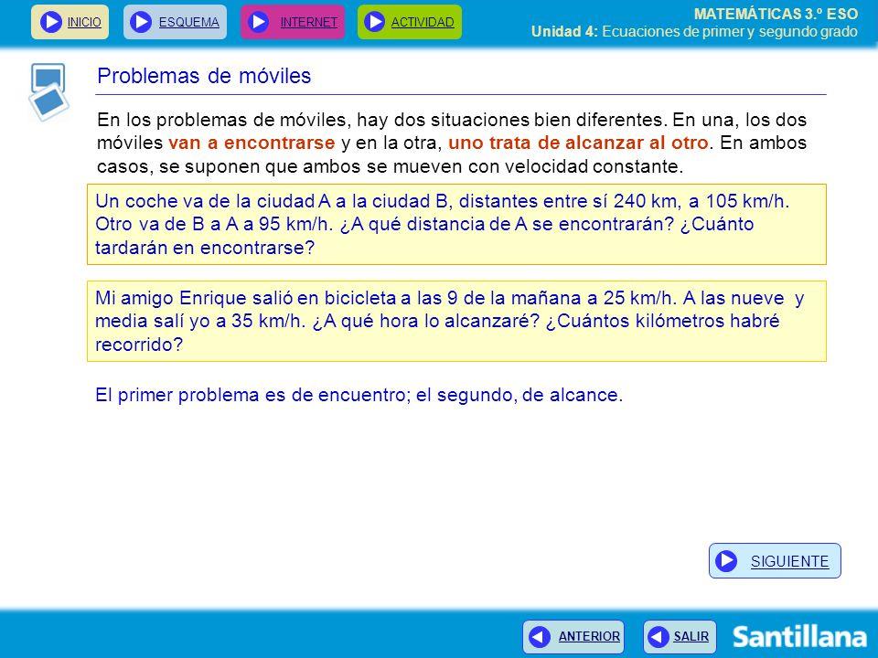 INICIOESQUEMA INTERNETACTIVIDAD ANTERIOR SALIR MATEMÁTICAS 3.º ESO Unidad 4: Ecuaciones de primer y segundo grado Problemas de móviles En los problema