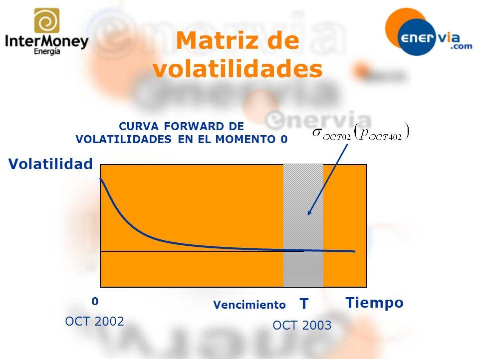 Matriz de volatilidades 0 CURVA FORWARD DE VOLATILIDADES EN EL MOMENTO 0 Vencimiento OCT 2002 OCT 2003 T Volatilidad Tiempo