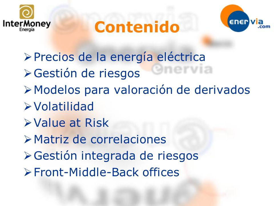 Precios de la energía eléctrica Gestión de riesgos Modelos para valoración de derivados Volatilidad Value at Risk Matriz de correlaciones Gestión inte