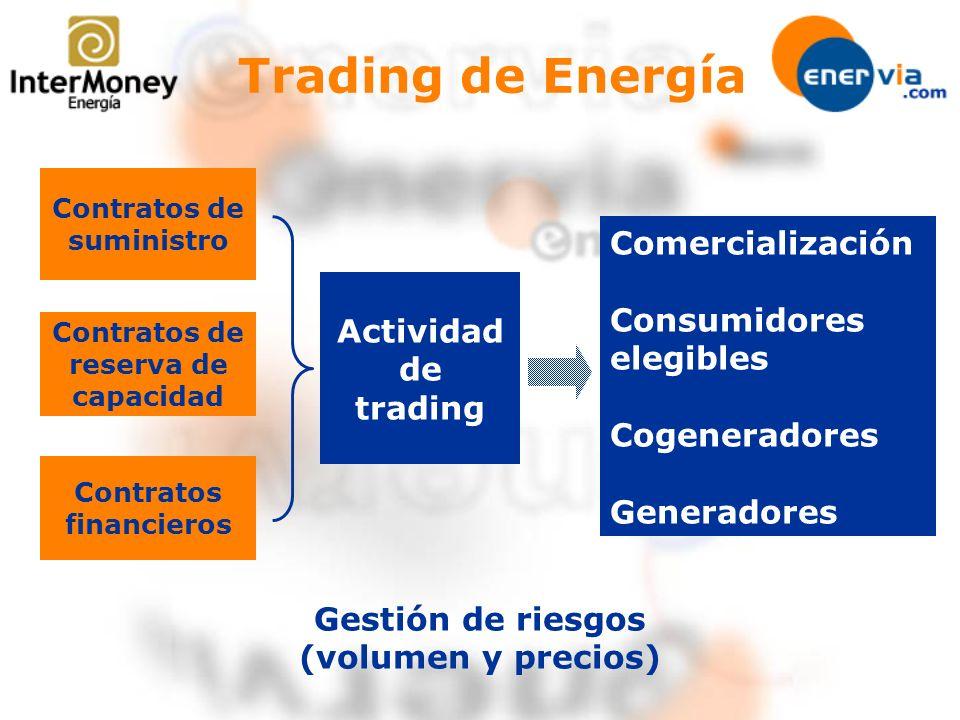 Contratos de suministro Contratos de reserva de capacidad Actividad de trading Contratos financieros Comercialización Consumidores elegibles Cogenerad