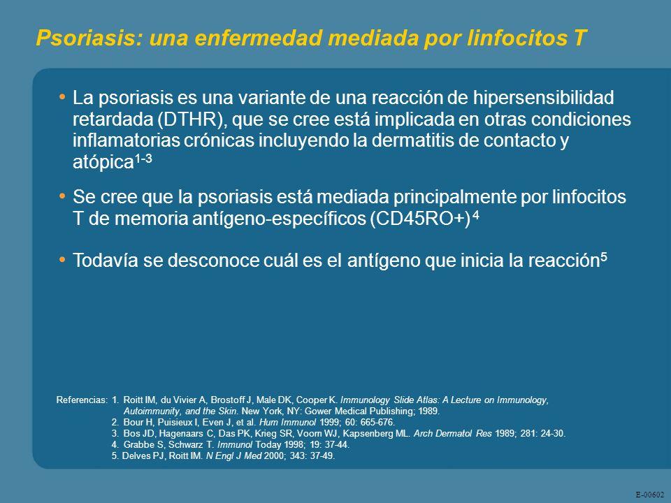 E - 00602 Psoriasis: una enfermedad mediada por linfocitos T La psoriasis es una variante de una reacción de hipersensibilidad retardada (DTHR), que s