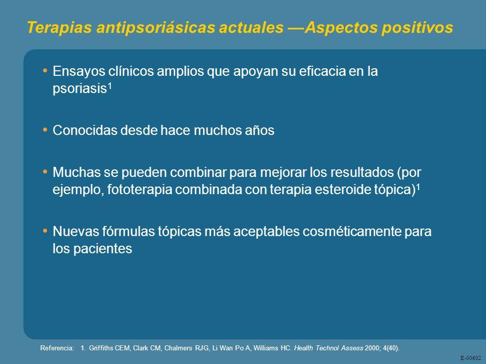 E - 00602 Ensayos clínicos amplios que apoyan su eficacia en la psoriasis 1 Conocidas desde hace muchos años Muchas se pueden combinar para mejorar lo