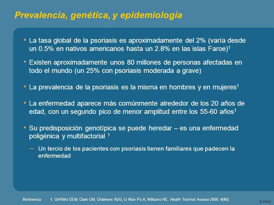 E - 00602 Referencia:1. Griffiths CEM, Clark CM, Chalmers RJG, Li Wan Po A, Williams HC. Health Technol Assess 2000; 4(40). Prevalencia, genética, y e