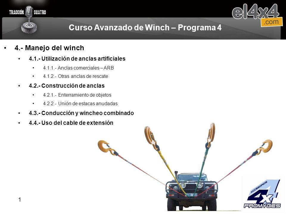 1 Curso Avanzado de Winch – Programa 4 4.- Manejo del winch 4.1.- Utilización de anclas artificiales 4.1.1.- Anclas comerciales – ARB 4.1.2.- Otras an