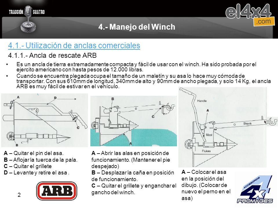 2 4.- Manejo del Winch Es un ancla de tierra extremadamente compacta y fácil de usar con el winch. Ha sido probada por el ejercito americano con hasta
