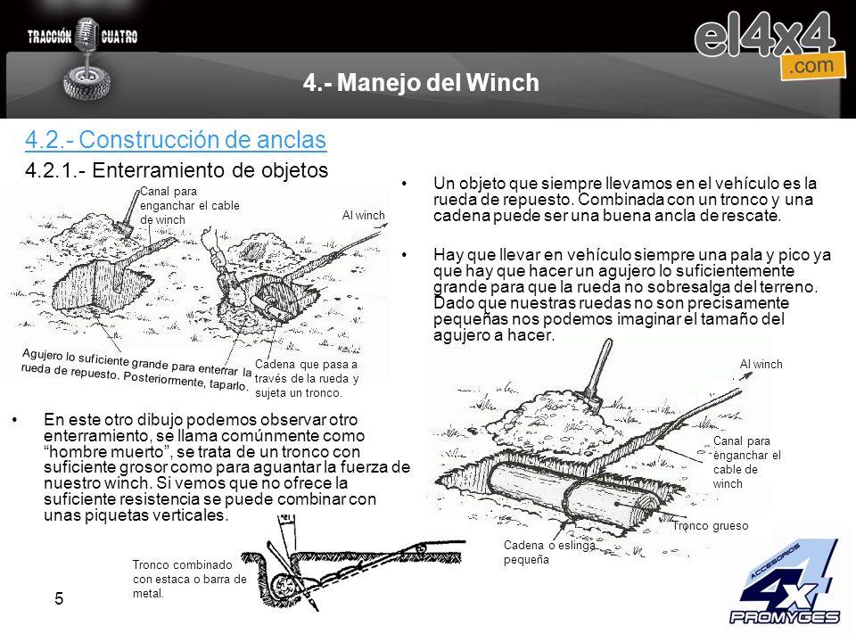5 4.- Manejo del Winch Un objeto que siempre llevamos en el vehículo es la rueda de repuesto. Combinada con un tronco y una cadena puede ser una buena