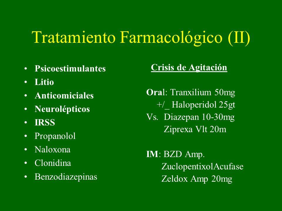 Tratamiento Farmacológico (II) Psicoestimulantes Litio Anticomiciales Neurolépticos IRSS Propanolol Naloxona Clonidina Benzodiazepinas Crisis de Agitación Oral: Tranxilium 50mg +/_ Haloperidol 25gt Vs.