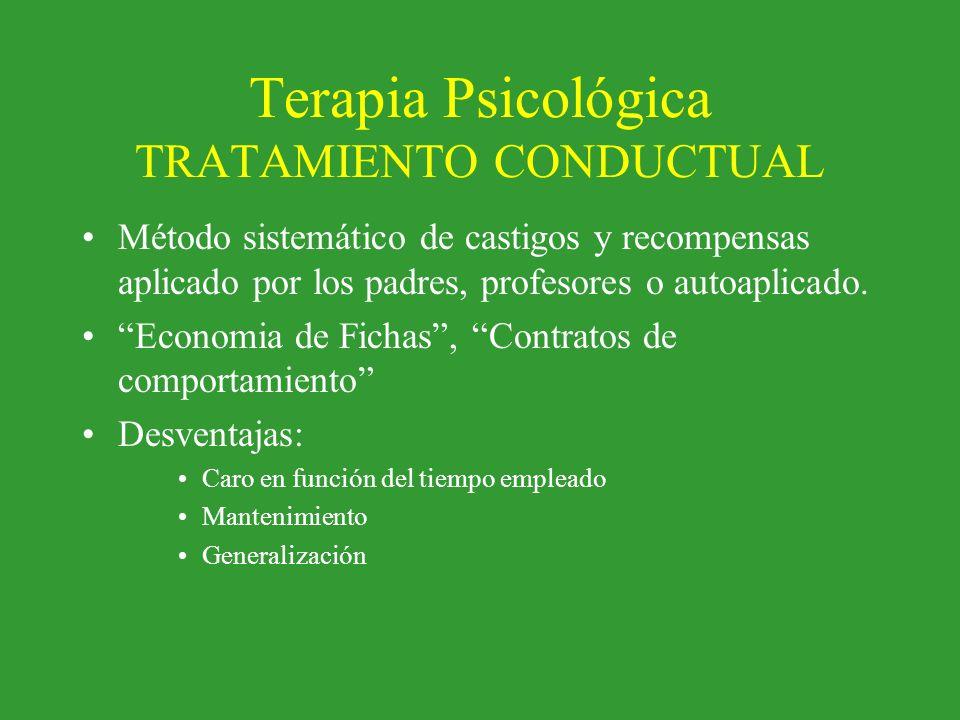 Terapia Psicológica TRATAMIENTO CONDUCTUAL Método sistemático de castigos y recompensas aplicado por los padres, profesores o autoaplicado. Economia d