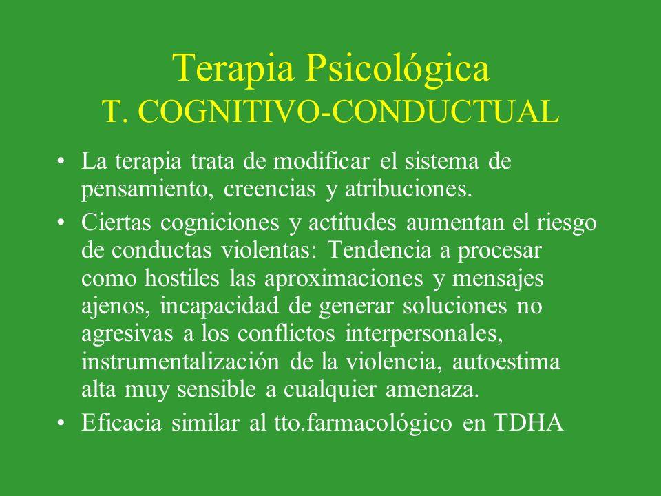 Terapia Psicológica T. COGNITIVO-CONDUCTUAL La terapia trata de modificar el sistema de pensamiento, creencias y atribuciones. Ciertas cogniciones y a
