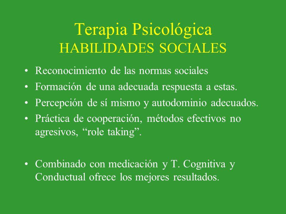 Terapia Psicológica HABILIDADES SOCIALES Reconocimiento de las normas sociales Formación de una adecuada respuesta a estas. Percepción de sí mismo y a