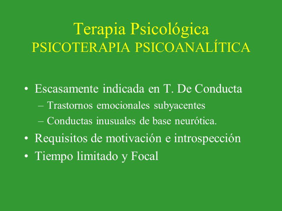 Terapia Psicológica PSICOTERAPIA PSICOANALÍTICA Escasamente indicada en T. De Conducta –Trastornos emocionales subyacentes –Conductas inusuales de bas