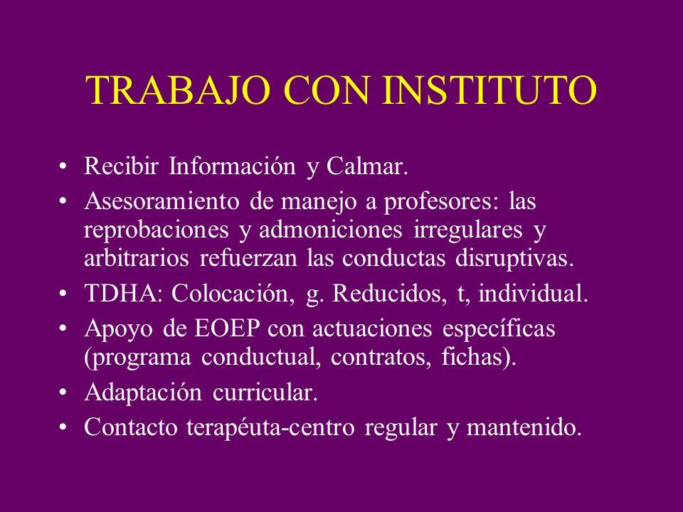 TRABAJO CON INSTITUTO Recibir Información y Calmar. Asesoramiento de manejo a profesores: las reprobaciones y admoniciones irregulares y arbitrarios r
