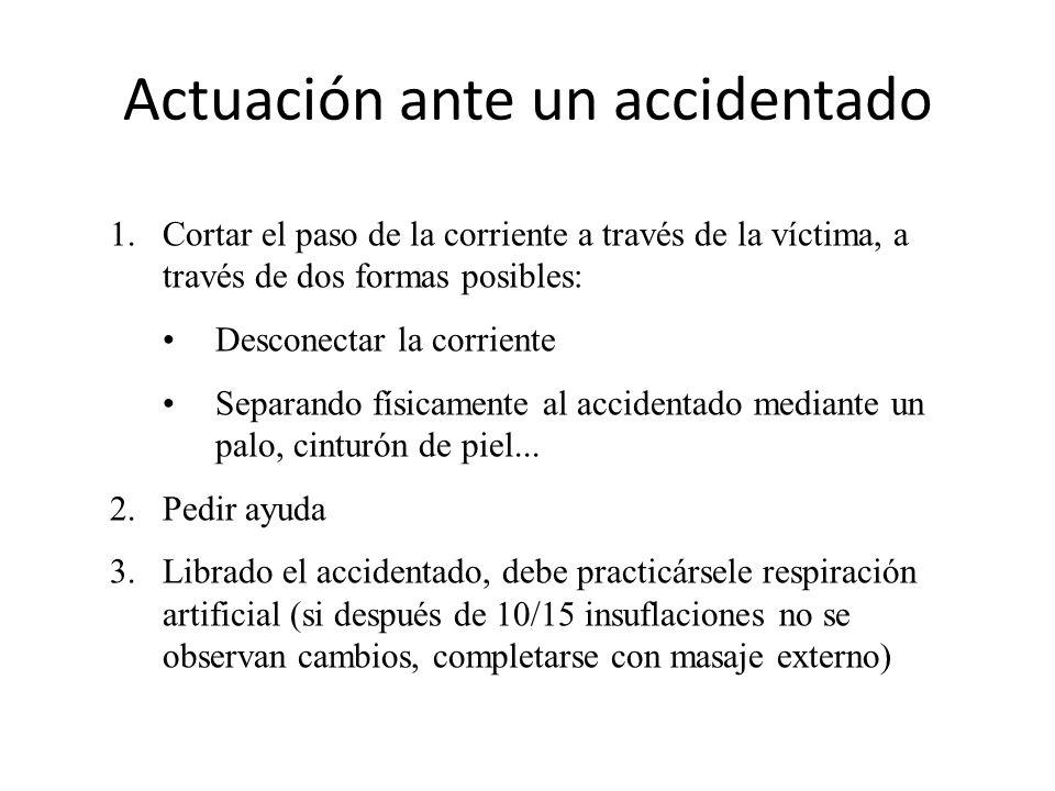 Actuación ante un accidentado 1.Cortar el paso de la corriente a través de la víctima, a través de dos formas posibles: Desconectar la corriente Separ