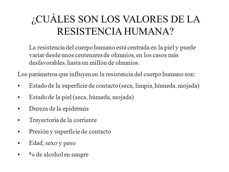 ¿CUÁLES SON LOS VALORES DE LA RESISTENCIA HUMANA? La resistencia del cuerpo humano está centrada en la piel y puede variar desde unos centenares de oh