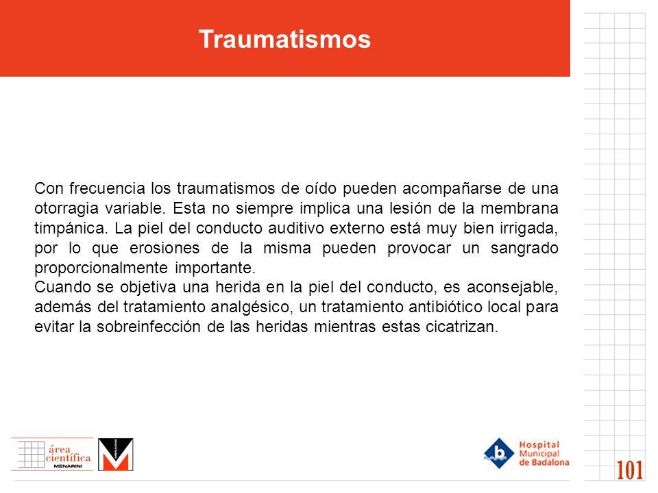 Traumatismos 101 Con frecuencia los traumatismos de oído pueden acompañarse de una otorragia variable. Esta no siempre implica una lesión de la membra