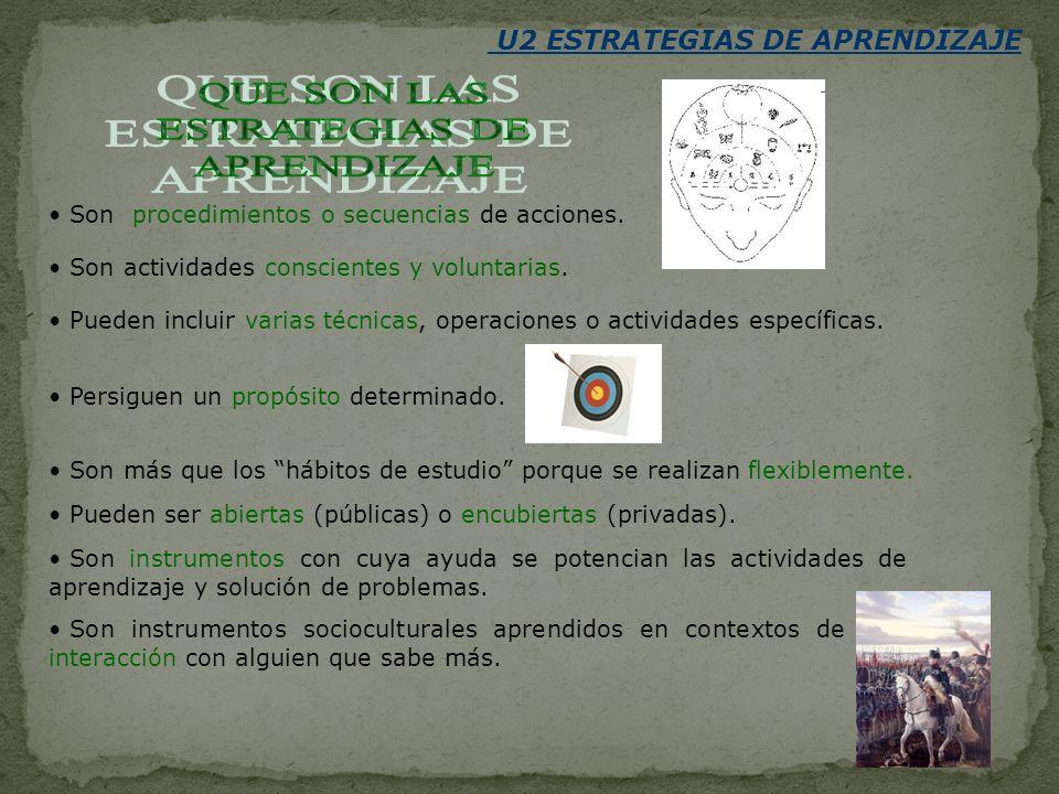 U2 ESTRATEGIAS DE APRENDIZAJE Son procedimientos o secuencias de acciones. Son actividades conscientes y voluntarias. Pueden incluir varias técnicas,