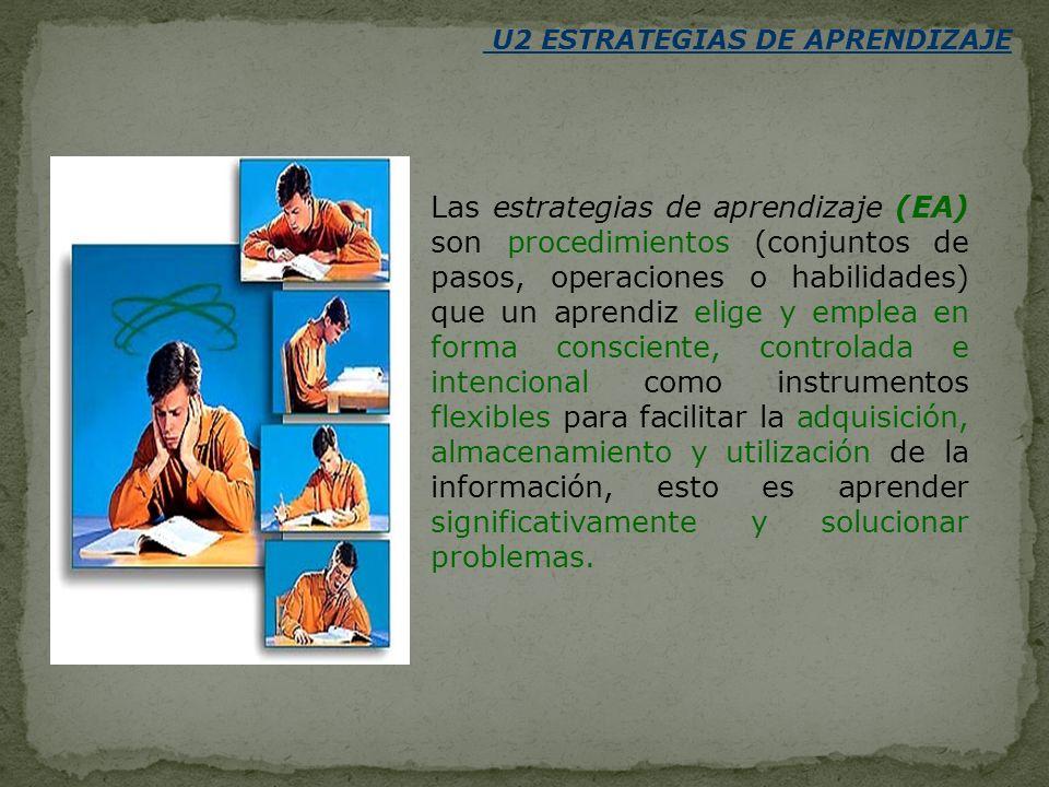 U2 ESTRATEGIAS DE APRENDIZAJE Las estrategias de aprendizaje (EA) son procedimientos (conjuntos de pasos, operaciones o habilidades) que un aprendiz e