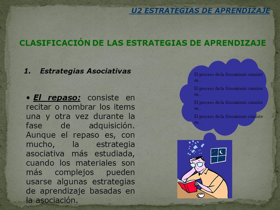 U2 ESTRATEGIAS DE APRENDIZAJE CLASIFICACIÓN DE LAS ESTRATEGIAS DE APRENDIZAJE 1. Estrategias Asociativas El repaso: consiste en recitar o nombrar los
