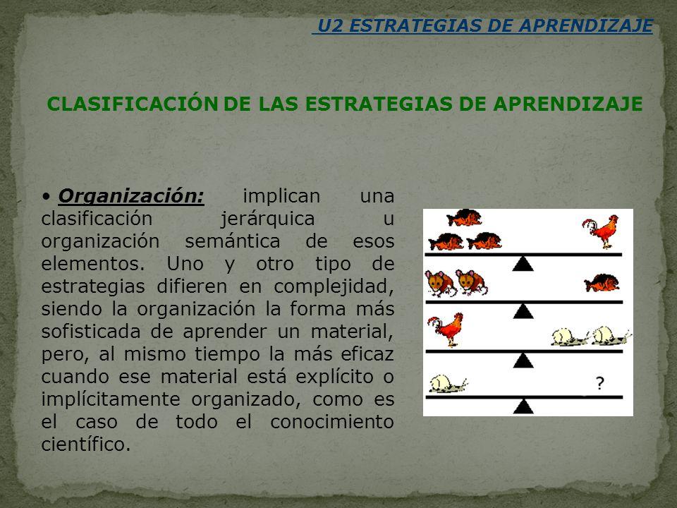 Organización: implican una clasificación jerárquica u organización semántica de esos elementos. Uno y otro tipo de estrategias difieren en complejidad