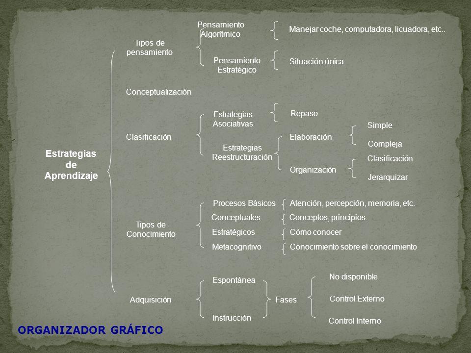 Estrategias de Aprendizaje Tipos de pensamiento Conceptualización Clasificación Tipos de Conocimiento Adquisición Pensamiento Algorítmico Pensamiento