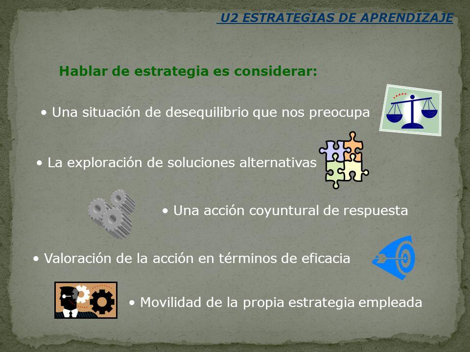 U2 ESTRATEGIAS DE APRENDIZAJE Son procedimientos o secuencias de acciones.
