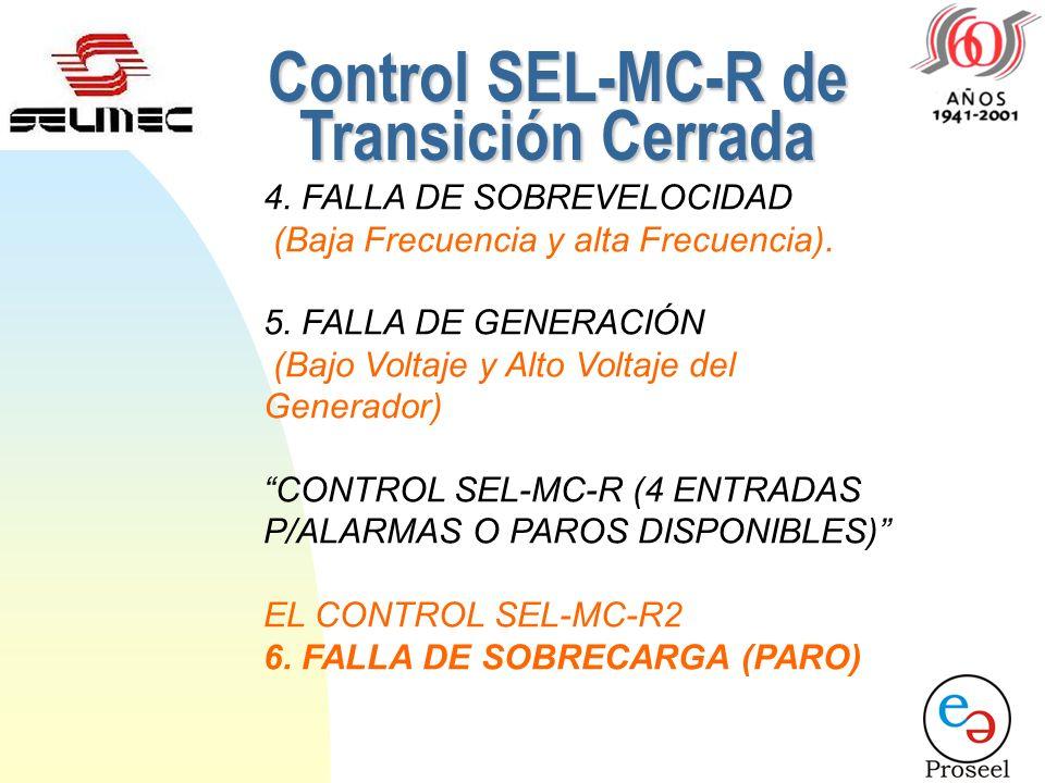 PROTECCIONES DEL CONTROL SEL-MC-R2 Fallas que son consideradas en el sistema para realizar paro. En Modo Automático y en Modo Manual: 1.FALLA DE ARRAN