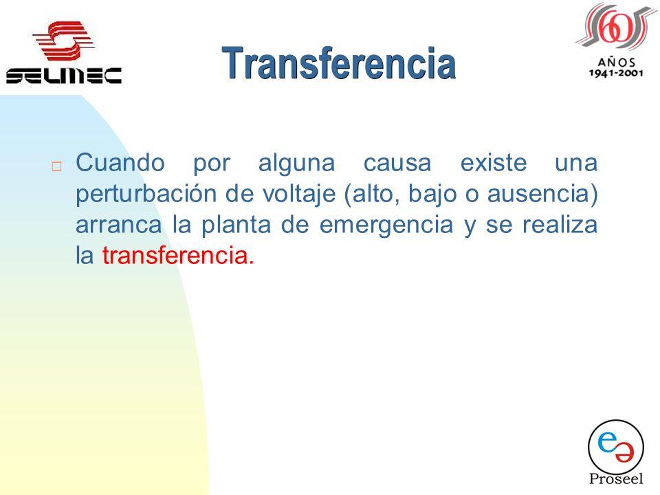 Transferencia ¨ Cuando por alguna causa existe una perturbación de voltaje (alto, bajo o ausencia) arranca la planta de emergencia y se realiza la transferencia.