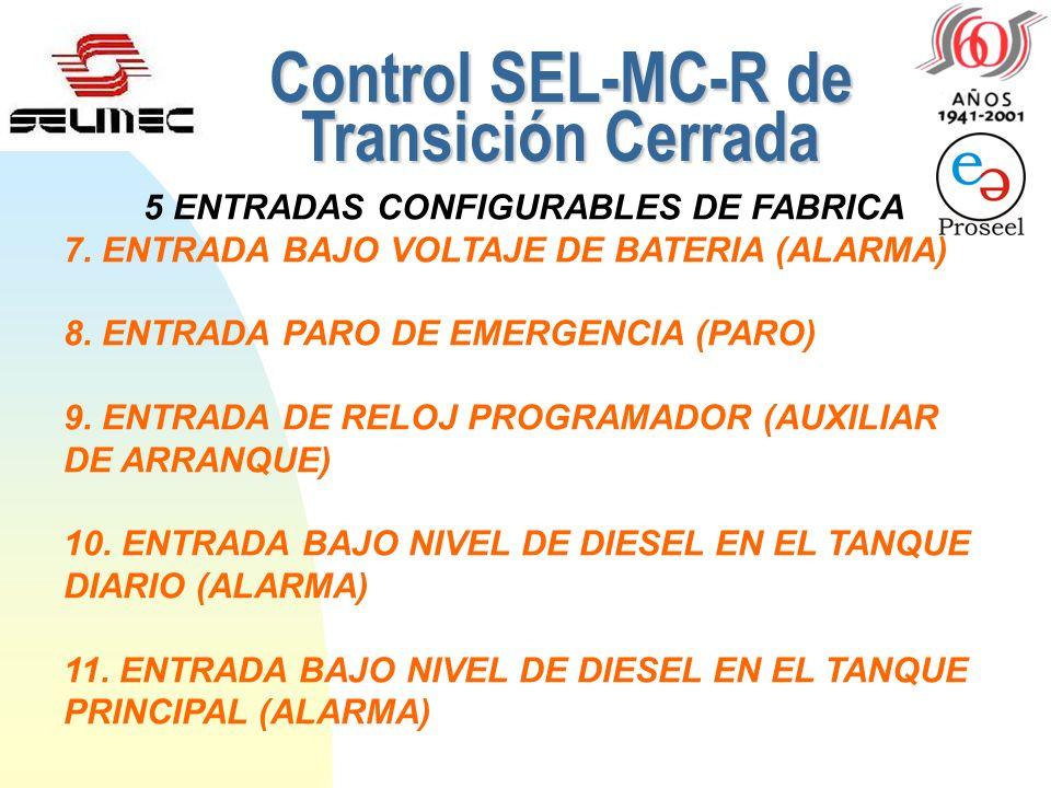 4. FALLA DE SOBREVELOCIDAD (Baja Frecuencia y alta Frecuencia). 5. FALLA DE GENERACIÓN (Bajo Voltaje y Alto Voltaje del Generador) CONTROL SEL-MC-R (4