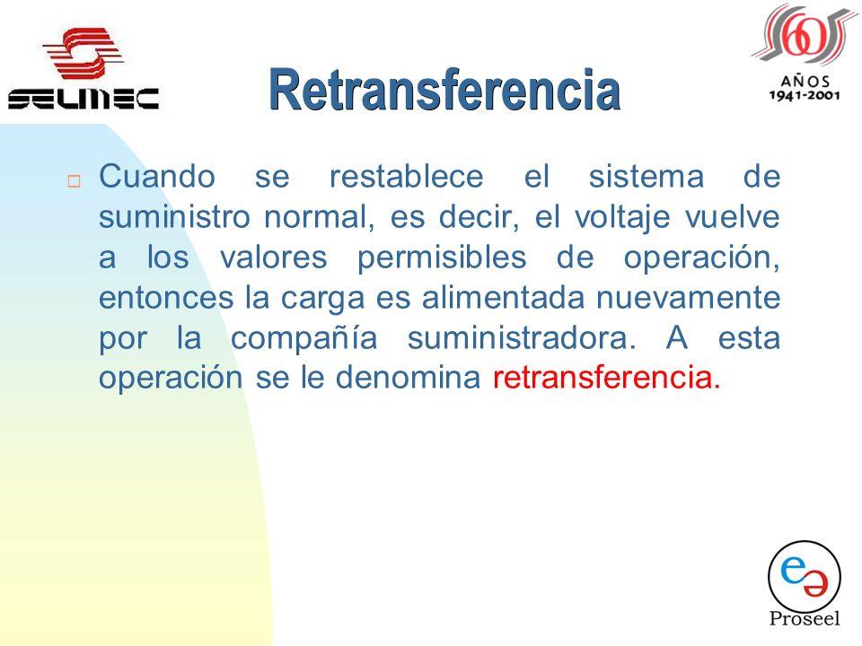 Retransferencia ¨ Cuando se restablece el sistema de suministro normal, es decir, el voltaje vuelve a los valores permisibles de operación, entonces la carga es alimentada nuevamente por la compañía suministradora.