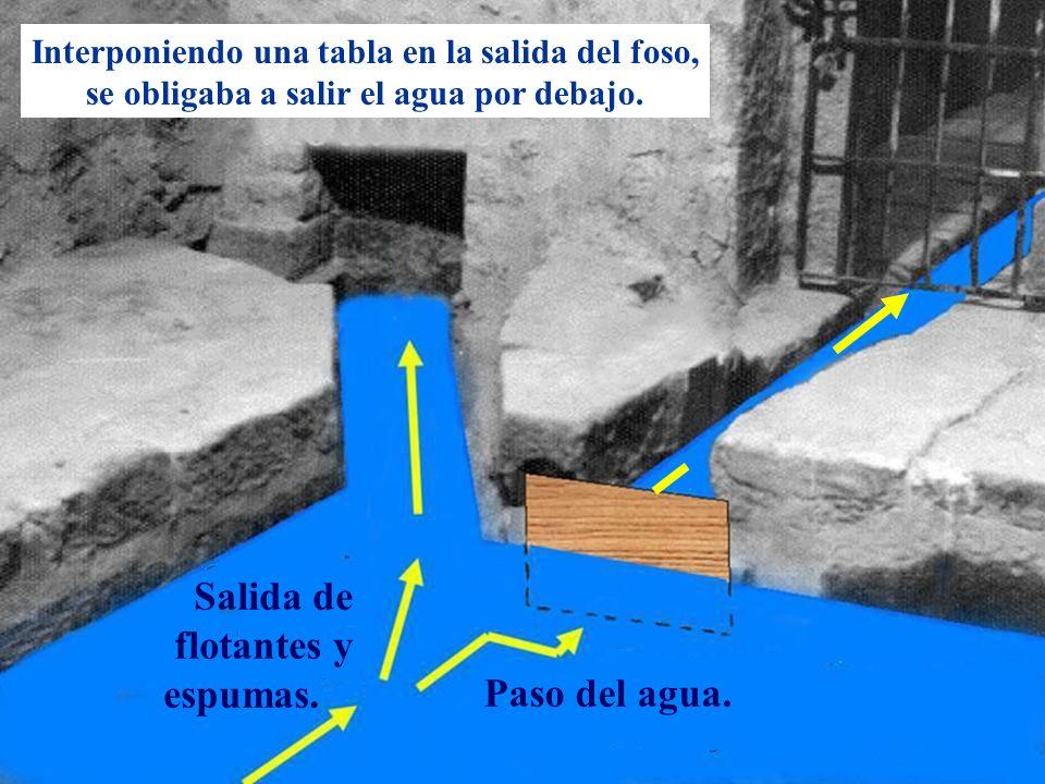 Descripción Salida de flotantes y espumas. Paso del agua. Interponiendo una tabla en la salida del foso, se obligaba a salir el agua por debajo.