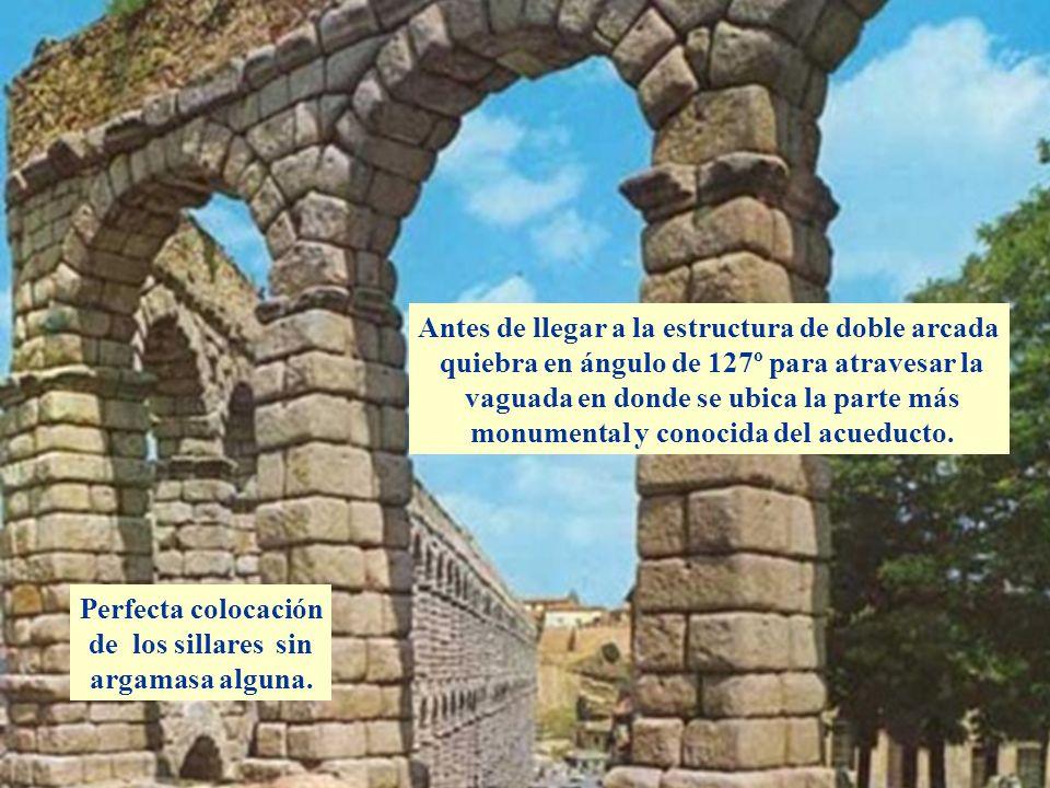 Descripción Antes de llegar a la estructura de doble arcada quiebra en ángulo de 127º para atravesar la vaguada en donde se ubica la parte más monumen