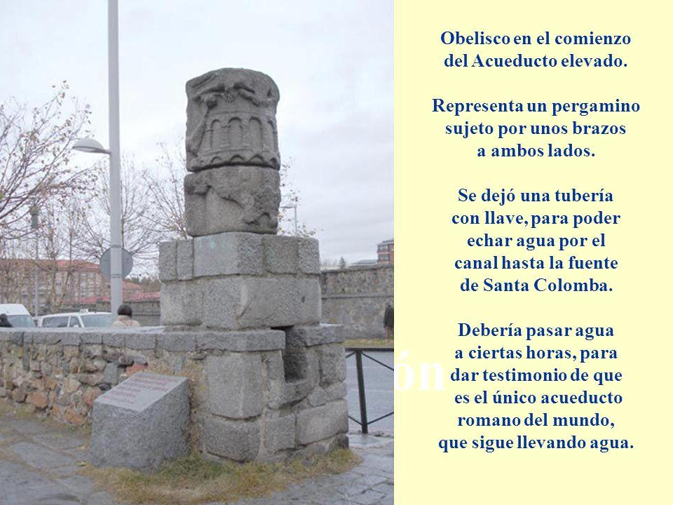 Descripción Obelisco en el comienzo del Acueducto elevado. Representa un pergamino sujeto por unos brazos a ambos lados. Se dejó una tubería con llave