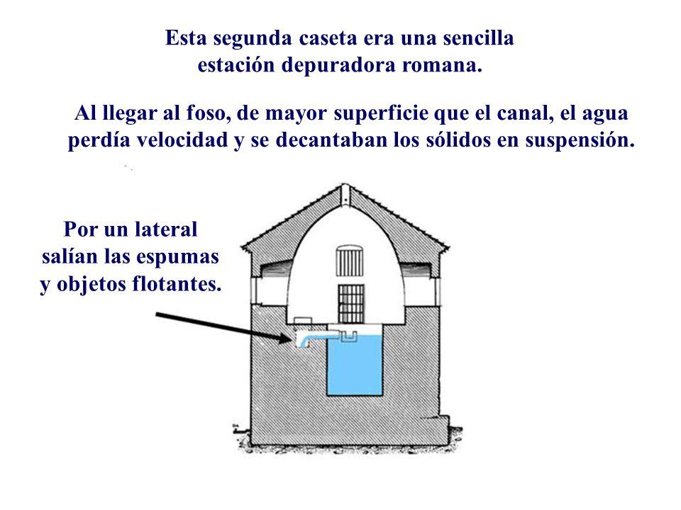 Descripción Esta segunda caseta era una sencilla estación depuradora romana. Al llegar al foso, de mayor superficie que el canal, el agua perdía veloc