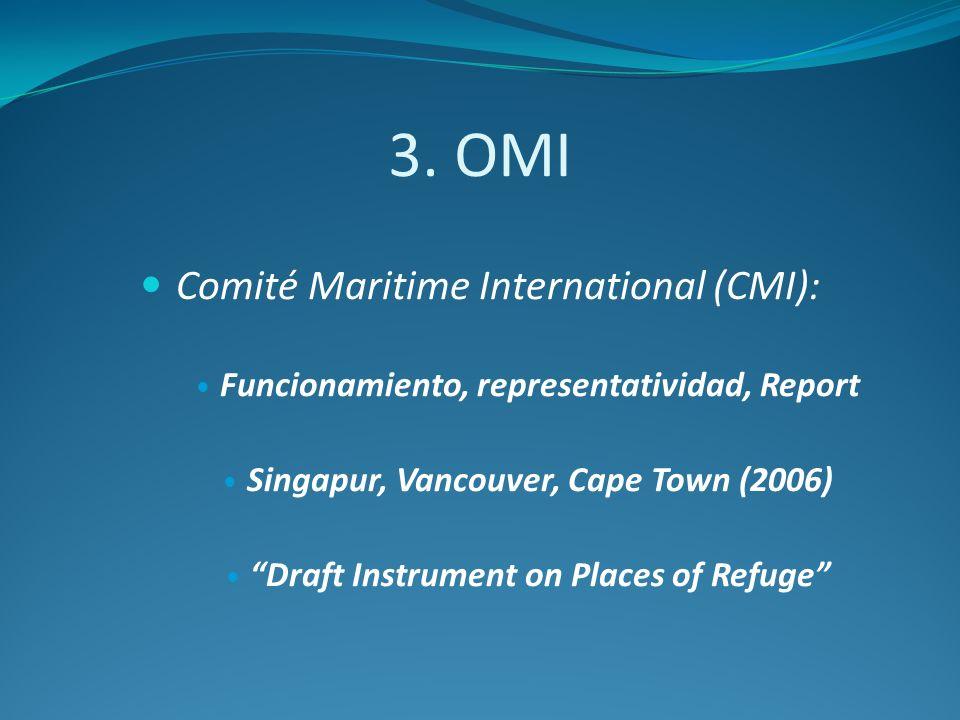 3. OMI Comité Maritime International (CMI): Funcionamiento, representatividad, Report Singapur, Vancouver, Cape Town (2006) Draft Instrument on Places