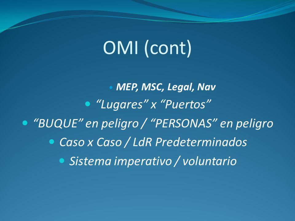 OMI (cont) MEP, MSC, Legal, Nav Lugares x Puertos BUQUE en peligro / PERSONAS en peligro Caso x Caso / LdR Predeterminados Sistema imperativo / volunt
