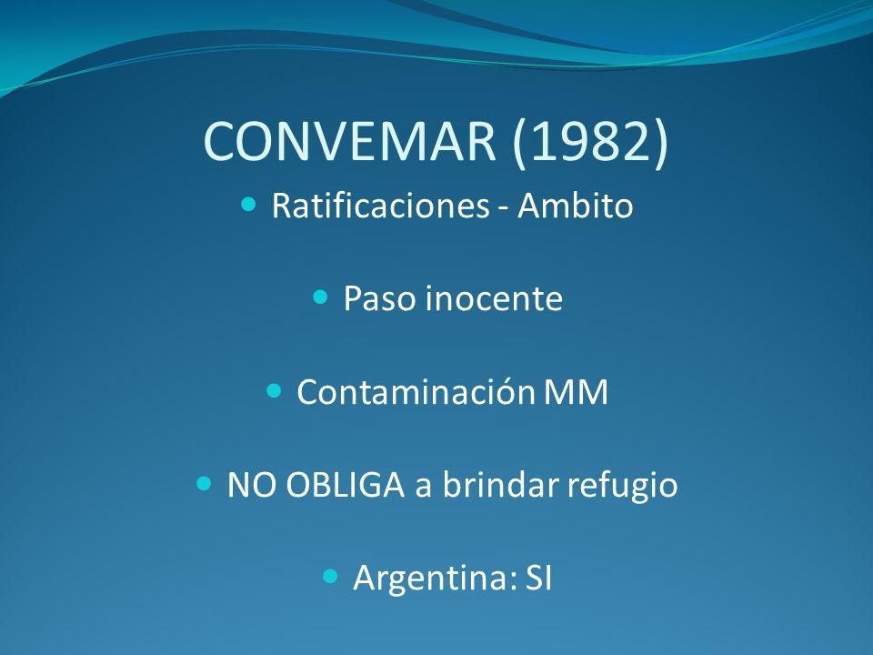 CONVEMAR (1982) Ratificaciones - Ambito Paso inocente Contaminación MM NO OBLIGA a brindar refugio Argentina: SI
