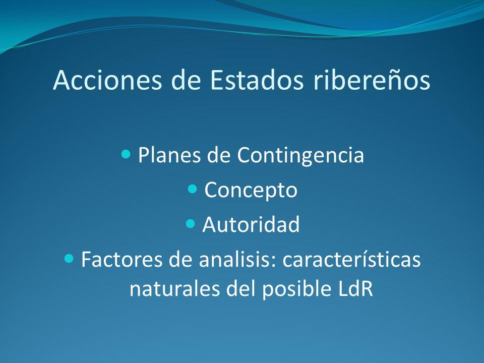 Acciones de Estados ribereños Planes de Contingencia Concepto Autoridad Factores de analisis: características naturales del posible LdR