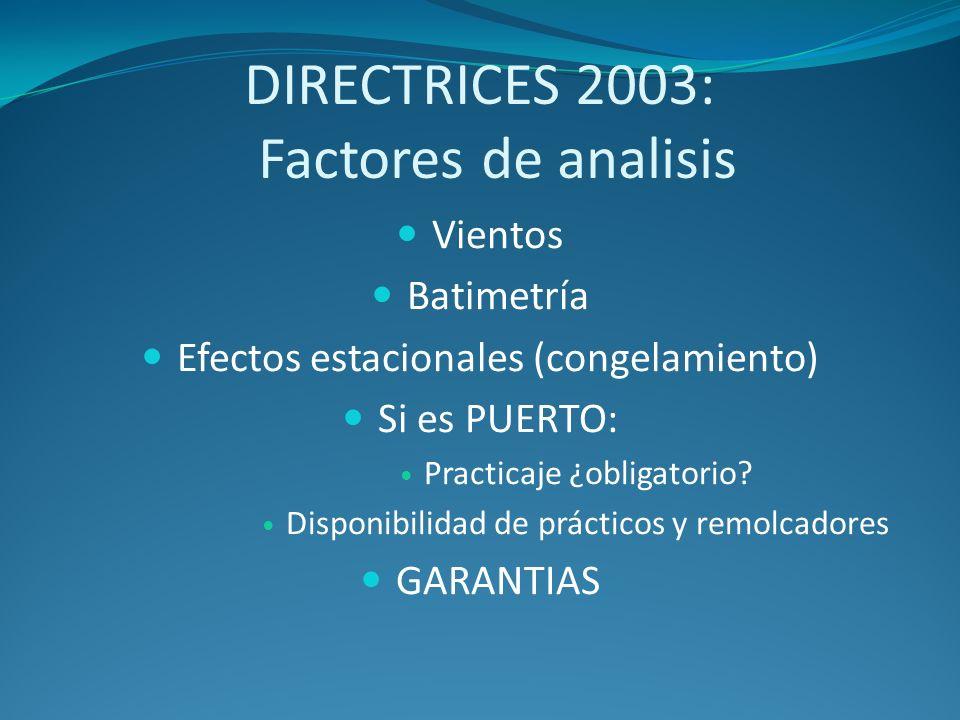 DIRECTRICES 2003: Factores de analisis Vientos Batimetría Efectos estacionales (congelamiento) Si es PUERTO: Practicaje ¿obligatorio? Disponibilidad d