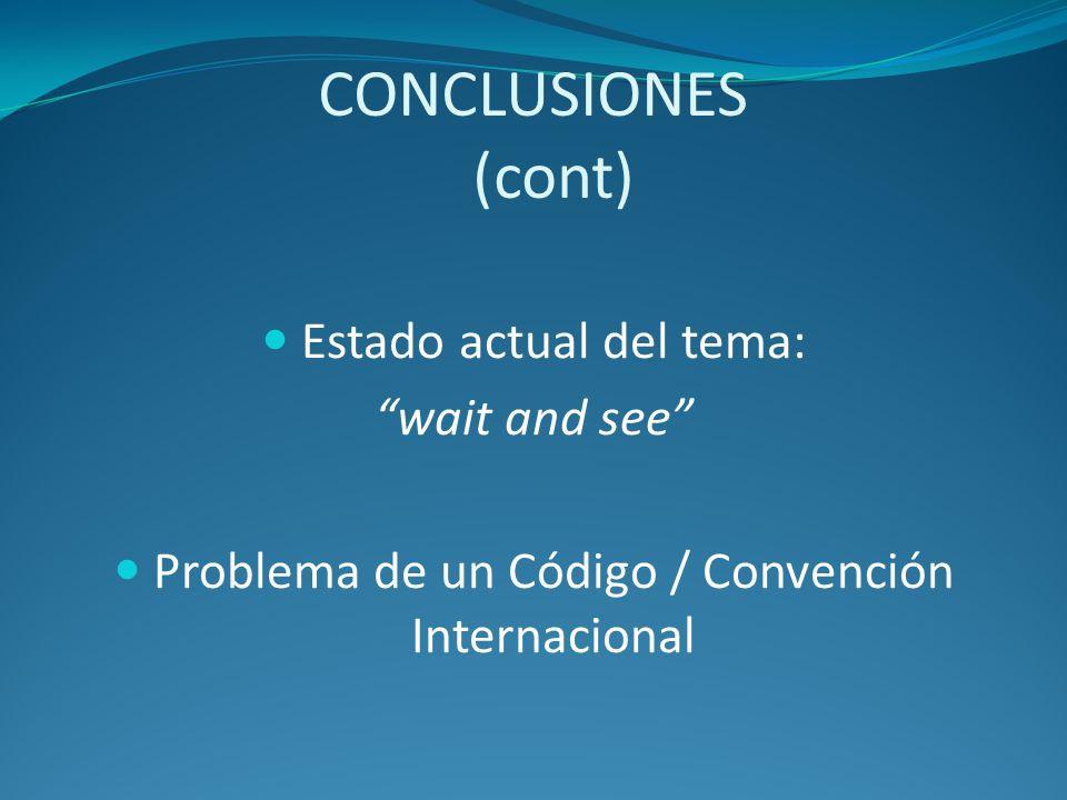 CONCLUSIONES (cont) Estado actual del tema: wait and see Problema de un Código / Convención Internacional