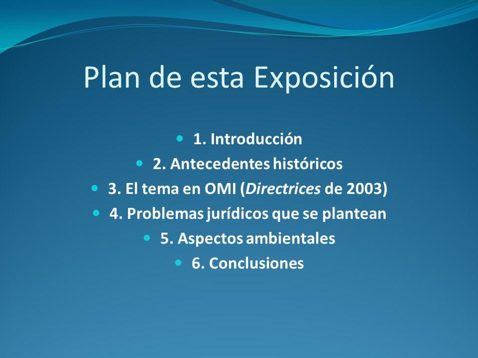 Plan de esta Exposición 1. Introducción 2. Antecedentes históricos 3. El tema en OMI (Directrices de 2003) 4. Problemas jurídicos que se plantean 5. A