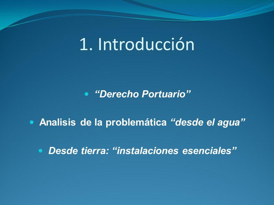 1. Introducción Derecho Portuario Analisis de la problemática desde el agua Desde tierra: instalaciones esenciales