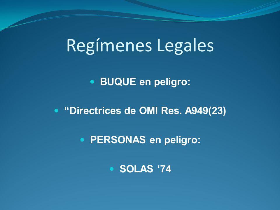 Regímenes Legales BUQUE en peligro: Directrices de OMI Res. A949(23) PERSONAS en peligro: SOLAS 74